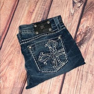 Miss Me Cross Distressed Bootcut Jeans